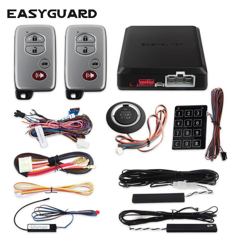 EASYGUARD автомобильный БЕСКЛЮЧЕВОЙ сигнализация Автозапуск кнопка запуска сенсорный ввод пароля Дистанционное открытие