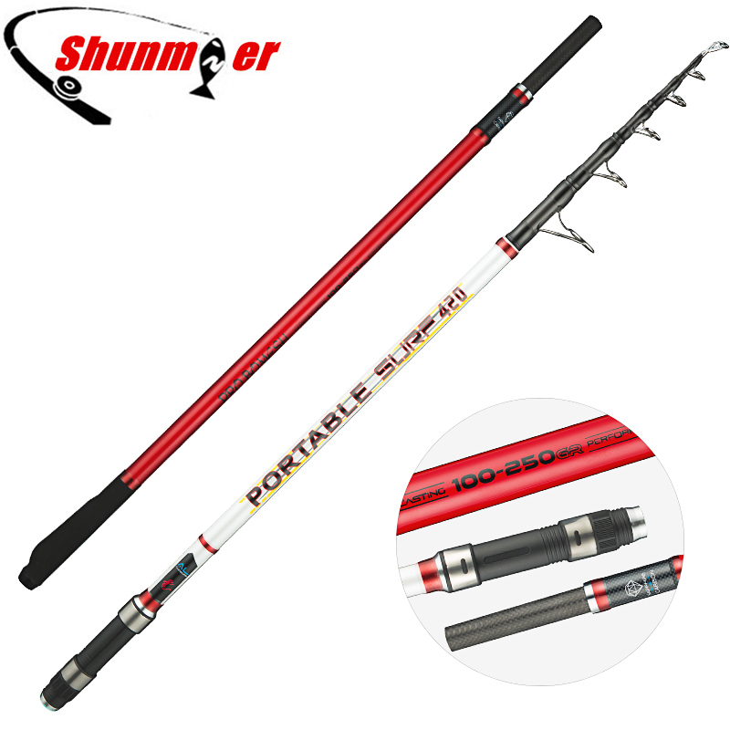 SHUNMIER 4.2m 2 Section High Carbon Surf Casting Rod Sinker 100 250g Superhard Distance Throwing Fishing Pole Rod Olta
