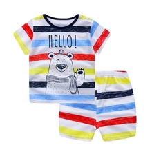 WYNNE GADIS Summer Baby Boys Clothing Sets Short Sleeve Bear T-shirt Tops + Striped Print Shorts Kids Infant Two Pieces Suits
