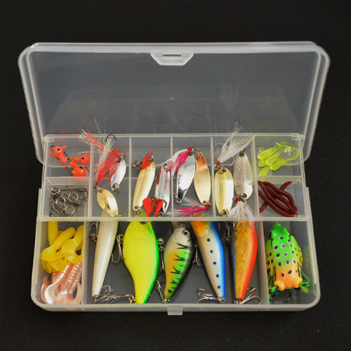 53pcs/lot Lure Kit Rattlin Minnow Popper Frog Bait Spoon Silicone Baits Fishing Tackle Accessories Fishing Lure Set goture 96pcs fishing lure kit minnow popper spinner jig heads offset worms hook swivels metal spoon with fishing tackle box