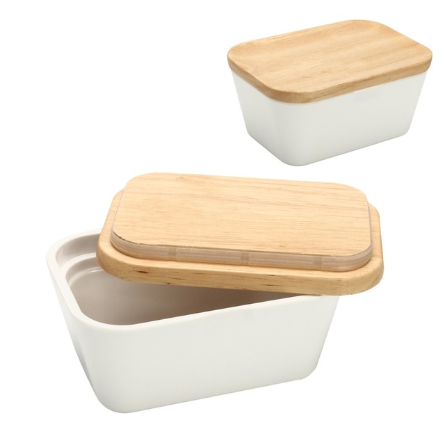 Butter Box Dish With Lid Holder Storage Container Wood Melamine