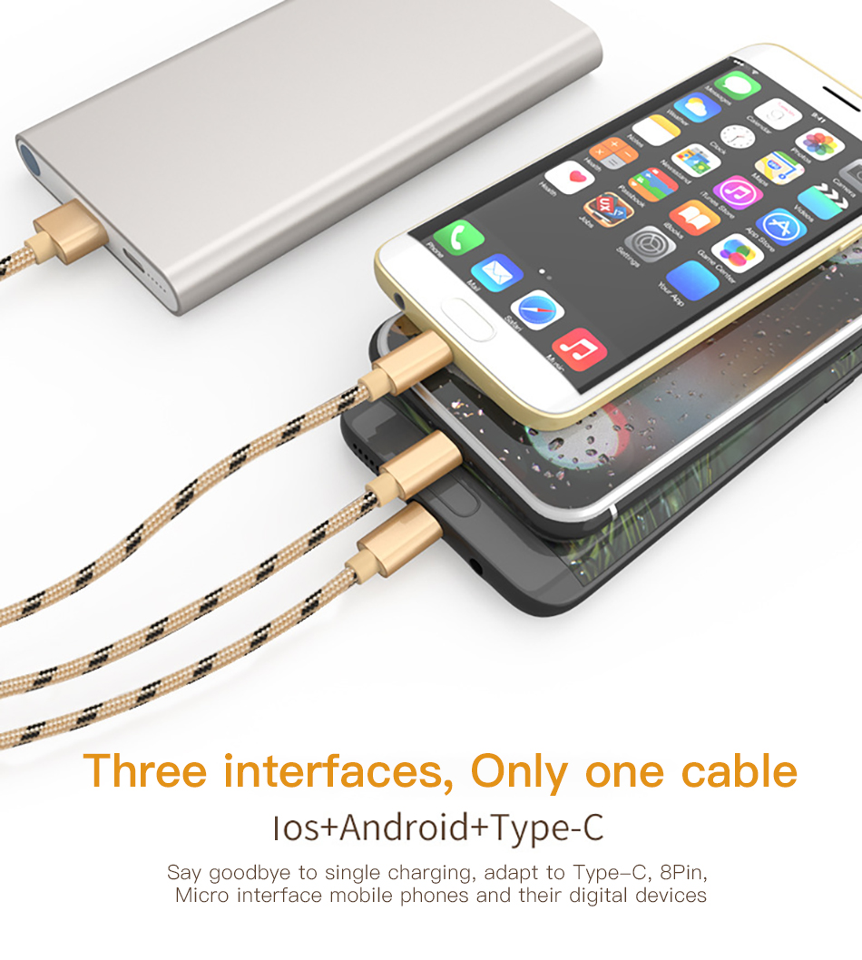 !ACCEZZ 3 in 1 USB Cable 2A Charging Line Micro USB Type C Lighting For iPhone XR XS MAX Charger Phone Cable For Samsung S9 S8  (2)