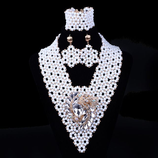 White Crystal Bead Wedding Party Braided Flower jewelry Sets SET 92