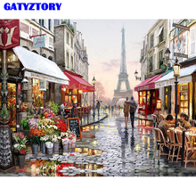 Frameless Paris Flower Street Landscape DIY Painting By Numbers Modern Wall Art Hand Painted Oil For Home Decor 40x50cm