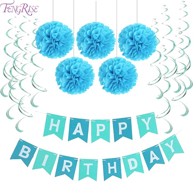 FENGRISE First Birthday Party Paper Decoration Set Happy Banner Hanging Swirls Pom Poms Boy Girl Favors Blue Pink