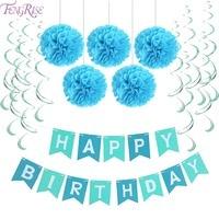 FENGRISE First Birthday Party Paper Decoration Set Happy Birthday Banner Hanging Swirls Pom Poms Boy Girl