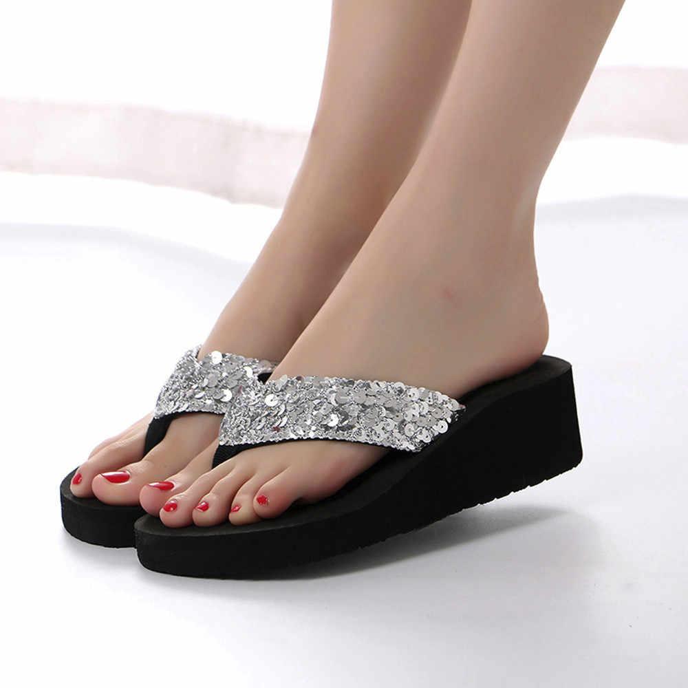 ฤดูร้อนผู้หญิง Flip Flops Casual Sequins Anti - ลื่นรองเท้าแตะชายหาดแบนรองเท้าแตะรองเท้าแตะเปิดนิ้วเท้ารองเท้าสำหรับสุภาพสตรี # L5