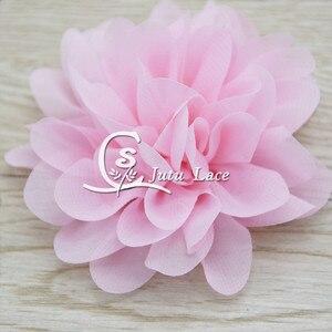Image 5 - 100 adet/grup, 3.75 tarak şifon çiçek, perişan şifon çiçek kafa bandı moda aksesuarları giyim aksesuarları