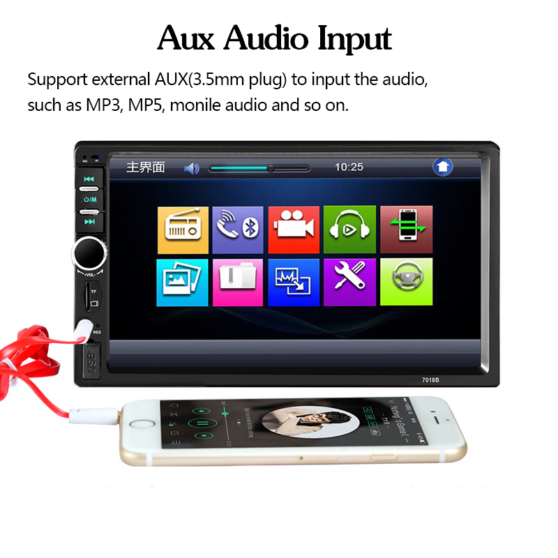 7018B Mirror Link Car Raido MP5 7 inch 2 DIN Car Audio Stereo Touch Screen  Radio with Bluetooth rear view camera