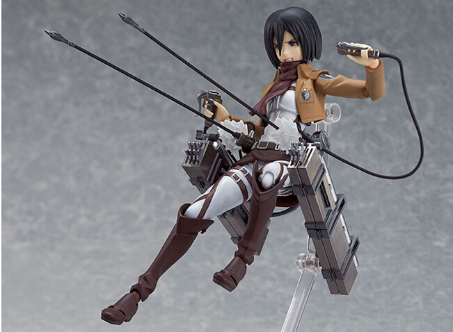 15CM PVC Attack on Titan Mikasa Ackerman Figma Movable Series Action Figure Car Furnishing Articles Model Holiday Gifts Ornament