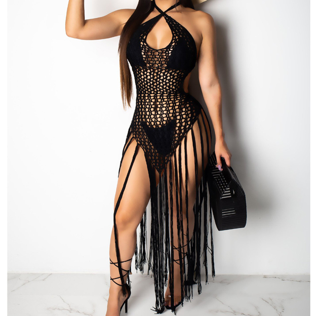 2019 summer Crochet hollow out tassel Beach Cover up dress sexy women bikini swimsuit Cover ups bathing suit Cover up Robe Plage 3