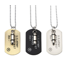 Army Bullet Dog Tag Pendant Necklace For Women Men Punk Rock Hip Hop Chains Stainless Steel Necklaces Cool Military Card Jewelry