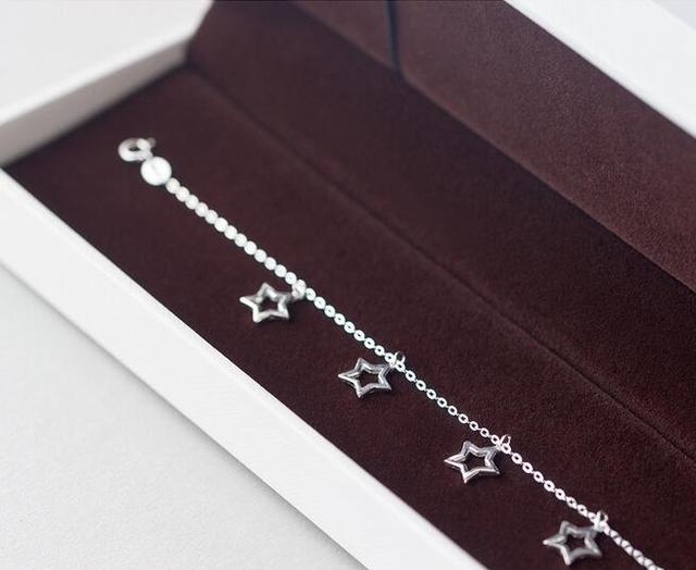 real.925 sterling silver jewelry Open Star Anklet Bracelet Chain with Lucky Beads charm GTLS352