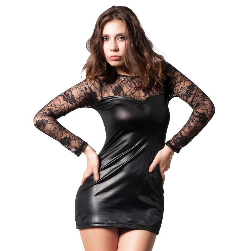 Plus Size <font><b>6XL</b></font> Nightclub Leather Section Lady Sexy <font><b>Lingerie</b></font> Hot Erotic Lenceria Conjoined Dress Leotard Intimates Porn image