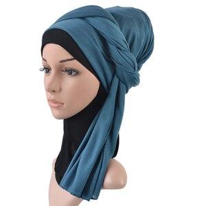 Image 5 - Tek parça başörtüsü eşarp maksi şal eşarp kadınlar müslüman hicap İslami bayan çaldı splid düz jersey başörtüsü 70x160 cm