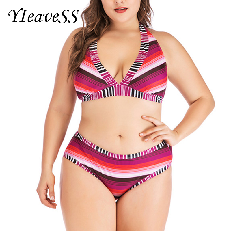 2019 Retro Plus Size Tankini Women Striped Halter Crossed Two Pieces Swimwear Big Cup Push Up Vintage Bathing Suit Large Biquini