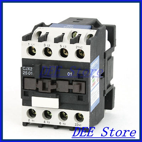 35mm DIN Rail Mounted 3P+1NC 36V Coil 25A AC Contactor CJX2-2510 35mm din rail mounted 3p 1no 380v coil 25a ac contactor cjx2 2510