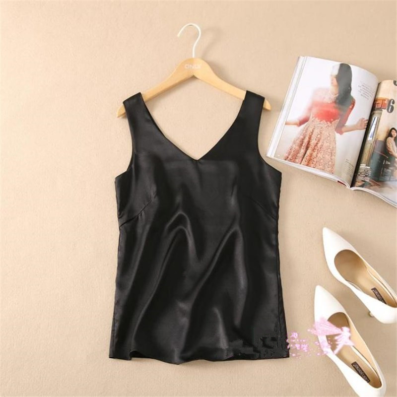 Women Hedging O neck Tees Female Summer Plus Size 100 Silk Tanks Woman plus size Solid