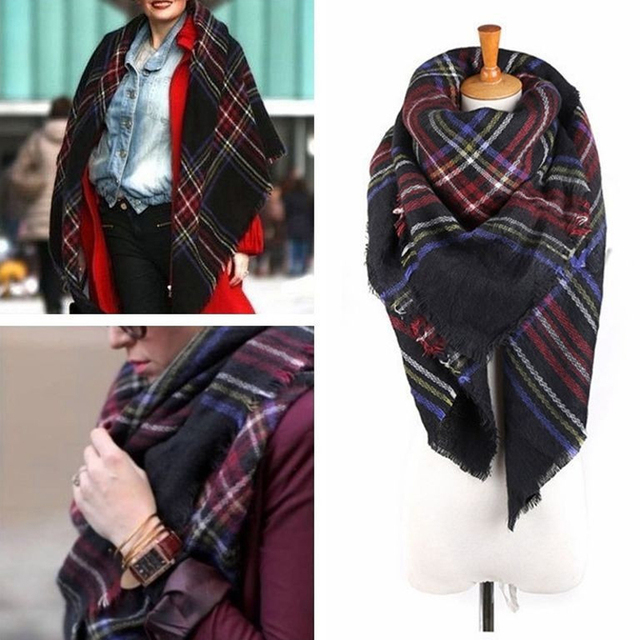 Unisex Women Men Warm Blanket Large Oversized Tartan Scarf Wrap Shawl Bandana Plaid Checked Pashmina Scarves Wool Ponchos Capes