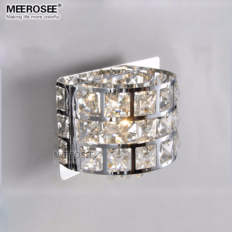 Modern Crystal Wall Light Chrome Metal Wall Lamp Lustre Murale Luminaire Bed Side Lights Bedroom Study Luminaria Led Applique