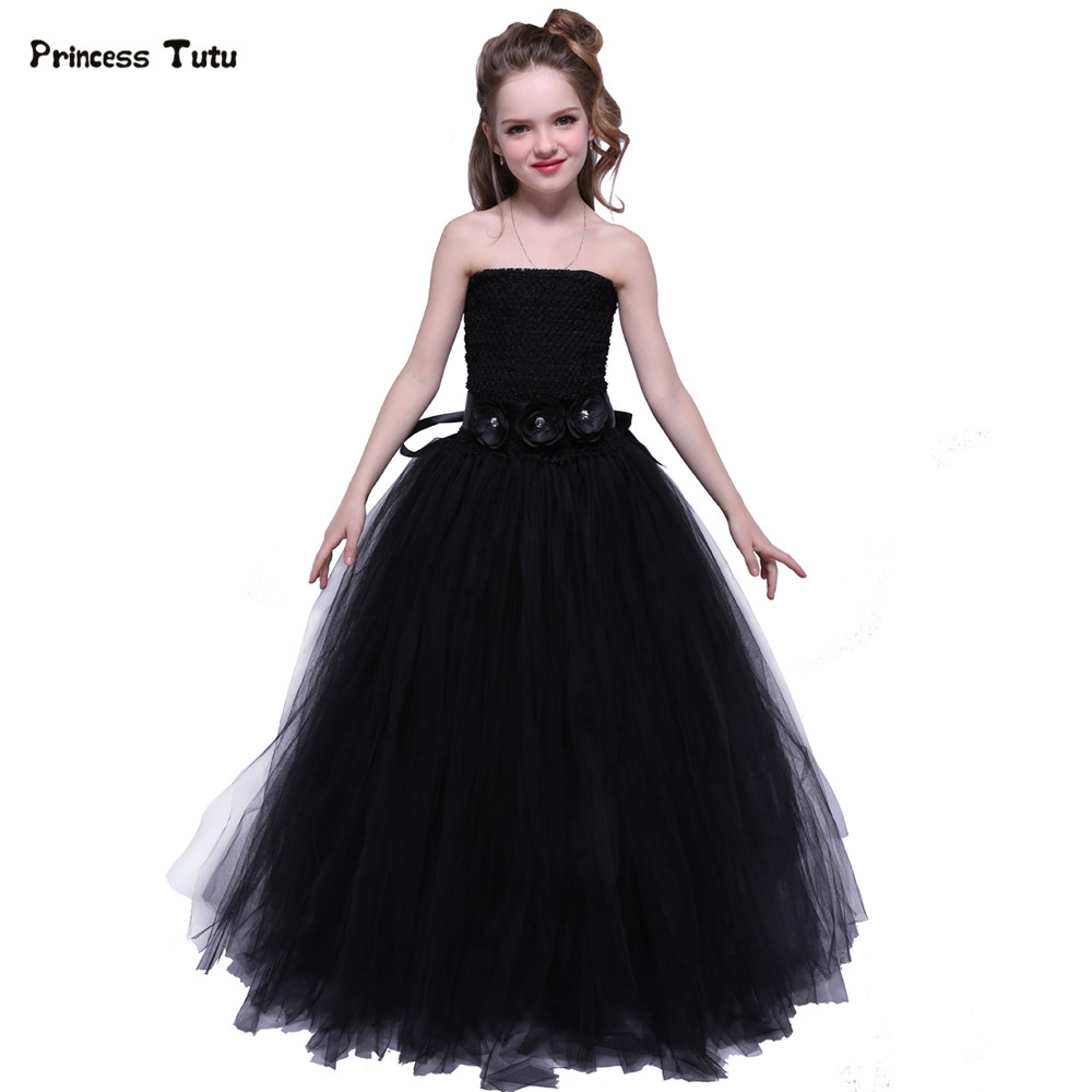 Tulle Flower Girl Dress Black Baby Kids Tutu Dress Princess Party Ball Gown Children Pageant Birthday Dresses Halloween Costume