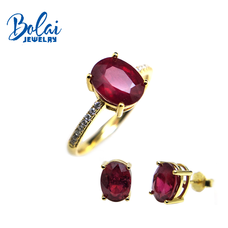 Bolaijewelry,natural ruby ring or earring jewelry set 925 yellow color sterling silver for women elegant wedding Christmas gift bolaijewelry natural emerald pendant or necklace and ring and earring jewelry set 925 sterling silver for women anniversary gift