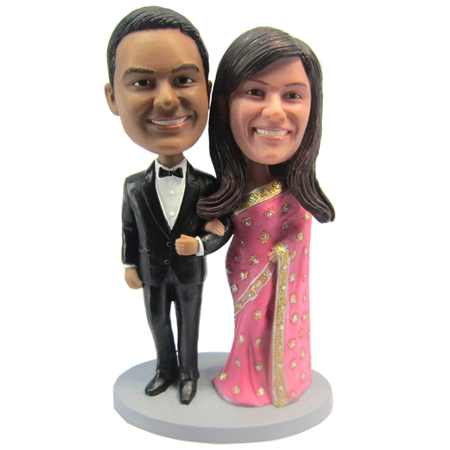 Express Free Shipping Personalized Bobblehead Doll India Couple