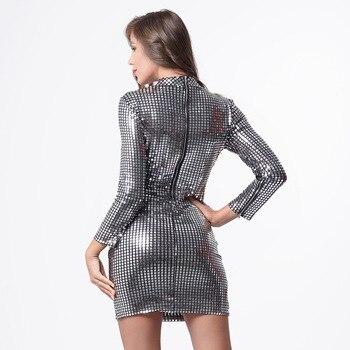 Новое женское серебристое платье с блестками, платье с длинным рукавом и сумочкой на бедрах для ночного клуба, Длинное Элегантное приталенное повседневное платье, женские платья 4