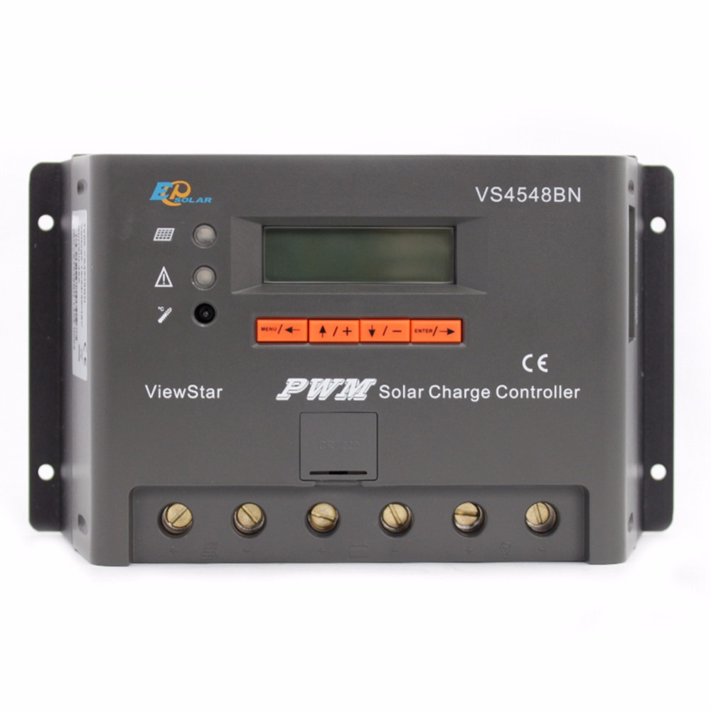 EPSOLAR Viewstar VS4548BN 45A 12V 24V 36V 48V ViewStar EP PWM Solar Charge Controller with LCD display pwm new viewstar series solar battery charge controller vs4548bn 45a 45amp epever epsolar 12v 24v 36v 48v auto work