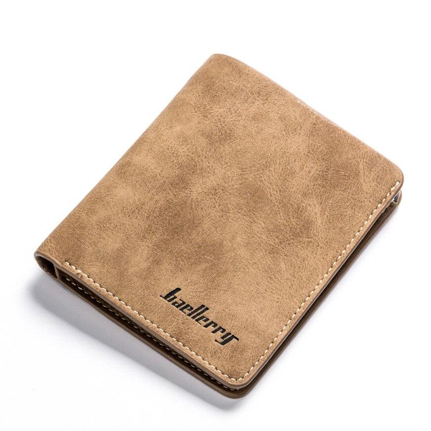 Casual Short Men's Wallets Matte Leather Bifold Wallet Men Slim Purse Student Money Clip Vertical/Horizontal Style Billetera