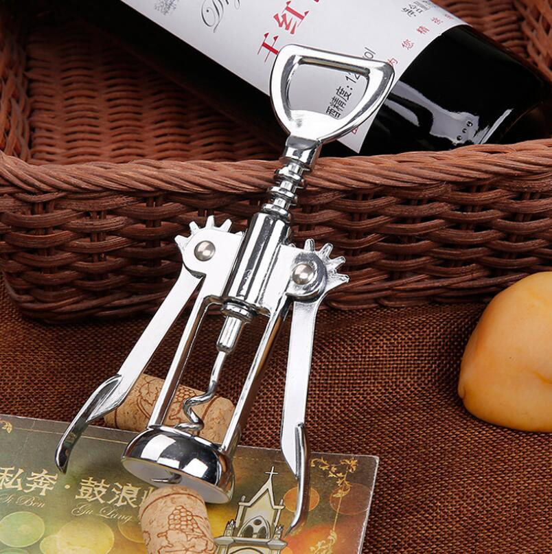 Stainless Steel Wine Bottle Opener Handle Pressure Corkscrew Red Wine Opener Kitchen Accessory Bar Tool LX5008