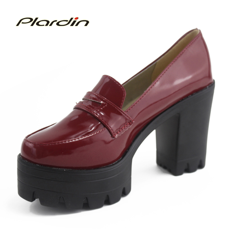 Platform Shoes Women Pumps 2018 Spring And Autumn Thick Comfortable Sweet High-Heeled Shoes Match Color Block Women Shoes цены онлайн