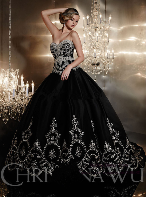 Black Wedding Dresses with Crystals