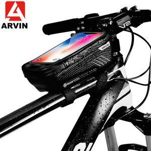 Image 1 - حقيبة دراجة عالمية من ARVIN مزودة بحامل للهاتف المحمول لهاتف iPhone X XR sansing S9 مضادة للمطر ومضادة للماء مع حقيبة أمامية مقاس 6.2 بوصة