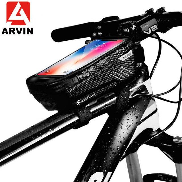 حقيبة دراجة عالمية من ARVIN مزودة بحامل للهاتف المحمول لهاتف iPhone X XR sansing S9 مضادة للمطر ومضادة للماء مع حقيبة أمامية مقاس 6.2 بوصة