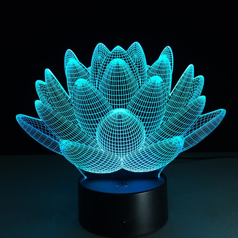 Lotus Led Table Lamp 3D Touch Control Night 7 Colors Change USB LED Desk Table Light Lamp Power Bank Abajur Night Light creative tractor shaped 3d led desk light colorful car night light remote control indoor lighting acrylic table lamp wholesale