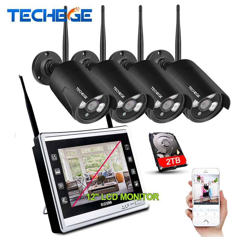 Techege 1080 p Sans Fil NVR Kit 12 pouces LCD Moniteur 2MP Wifi IP Caméra 1080 p CCTV Caméra de Sécurité À Domicile système de Surveillance Kits