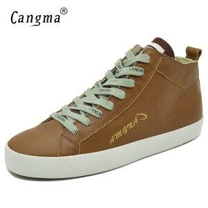 Image 3 - CANGMA של אישה מעצב נעלי ספורט נעליים מזדמנים עור אמיתי בנות אמצע למבוגרים נשים הנעלה נקבה חום מאמני