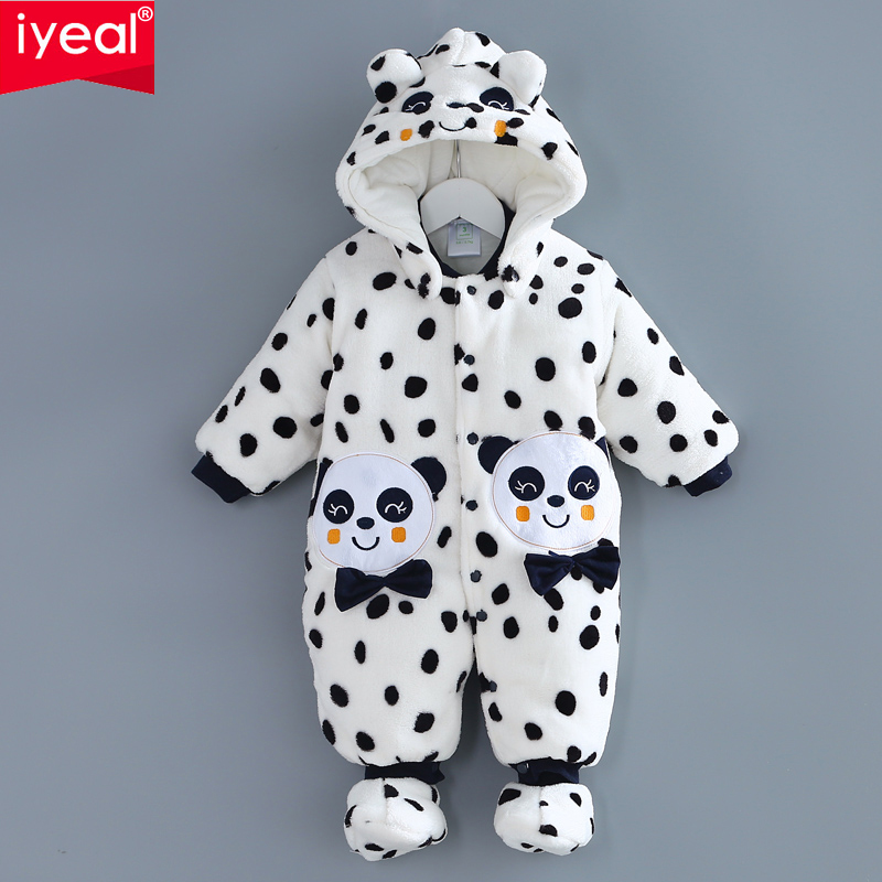 IYEAL High quality Thick warm Winter Cartoon Panda Cotton Infant Jumpsuit Clothing Baby Romper Infant Overall Jumpsuit цена