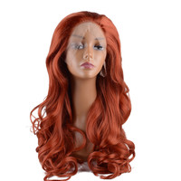StrongBeauty Lace Front Wigs Long Curly Hair Light Red Synthetic Heat Resistant Fiber Women's Full wig
