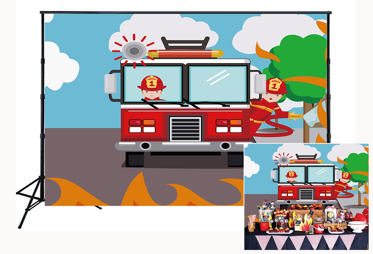 Firetruck Theme urodziny tło imprezowe strażak strażak tło Baby Shower Prince baner ze zdjęciami na rekwizyty studyjne W-2082