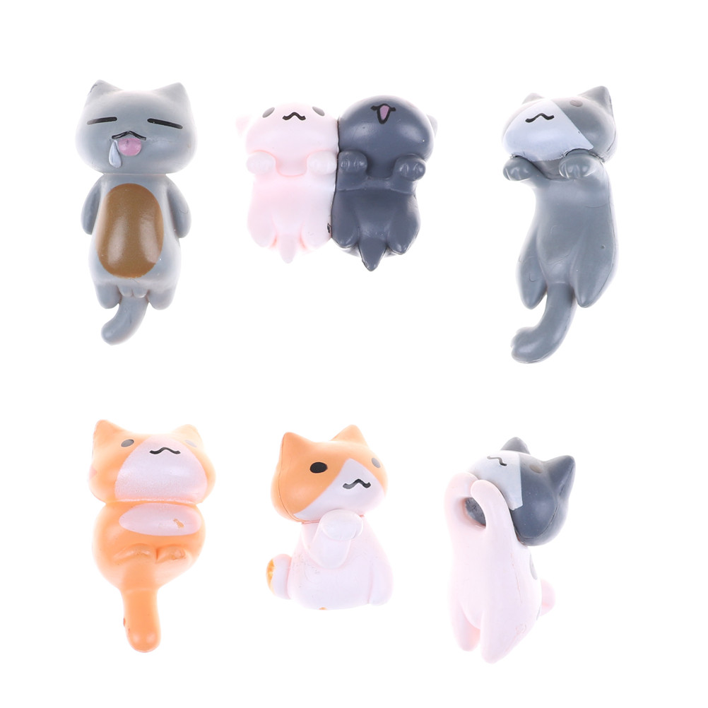6 Styles Kids Cheese Cat Action Figures cute Mini Cat PVC Toys Figures Model Toy Best Decoration For Children image