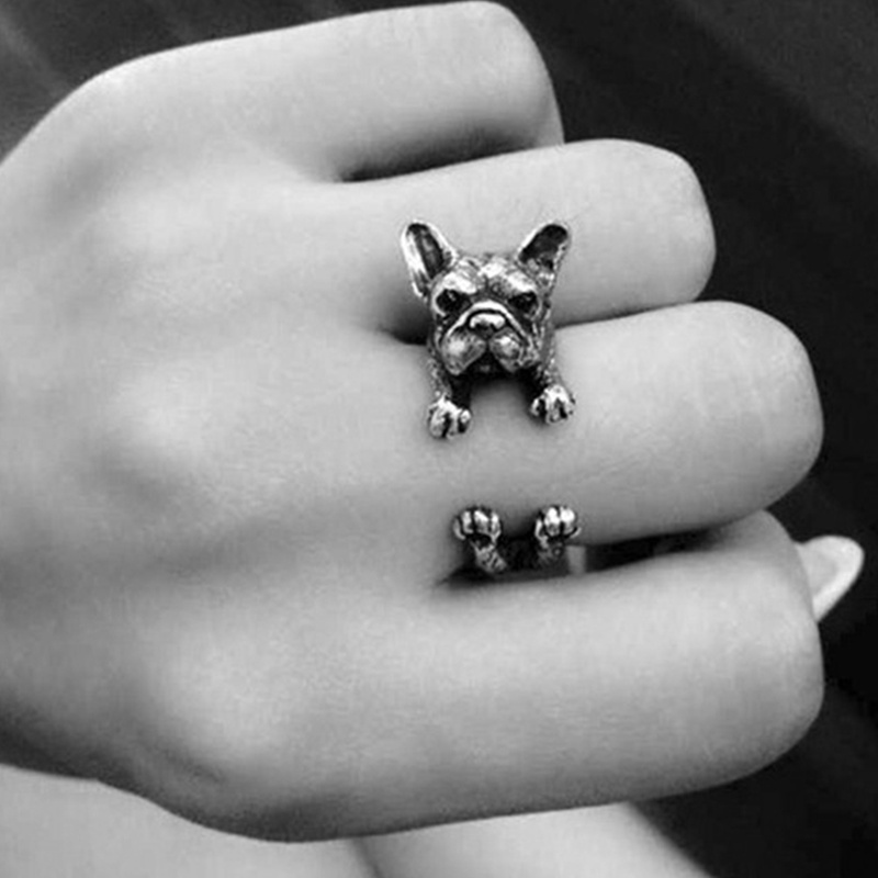 1 pcs Fashion Style Dog Pet Antique Vintage Animal Ring Gift Puppy Wrap Ring Adjustable Jewelry Accessories monochrome