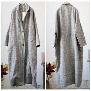 Image 2 - Women Retro Linen Thick Linen Trench Coat Outwear Ladies Autumn Spring Overcoat Long Coat Female Vintage Flax Coat 2018