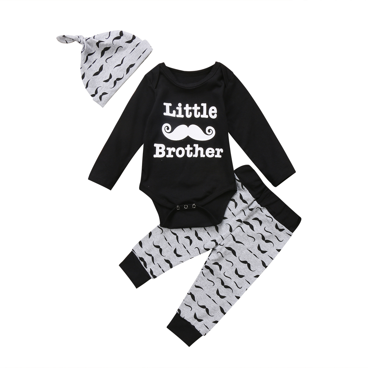 Newborn Toddler Baby Boy Romper Tops+Beard Long Pants+Hat Outfits Set Clothes