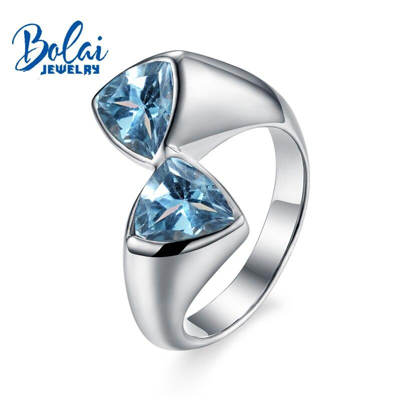 Bolaijewelry, Naturel bleu topaze Pierre Triangle Unisexe Anneaux 925 en argent sterling fine jewelry pour les femmes usage quotidien partie cadeau