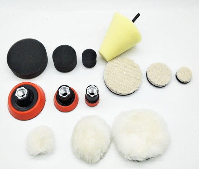 1 de alta calidad, almohadilla de espuma de pulido fino de 2,3 pulgadas (3 almohadillas de espuma, 3 almohadillas de respaldo, 3 almohadillas de lana japonesas, 3 bolas de lana, 1 cono,