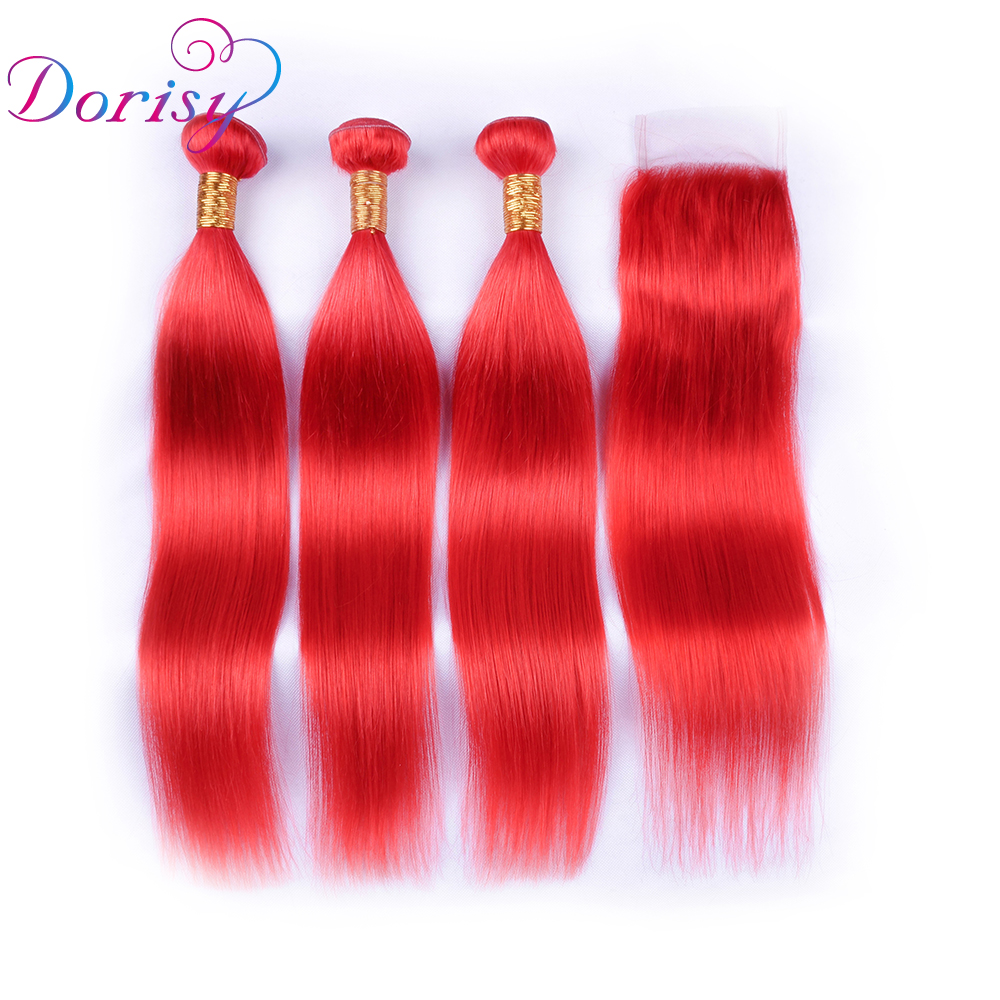 Dorisy Remy Human Hair Weave Brazilian Straight Hair Red Burg Color 3 Bundles With 4x4 Lace Closure Free Part Hair Extension
