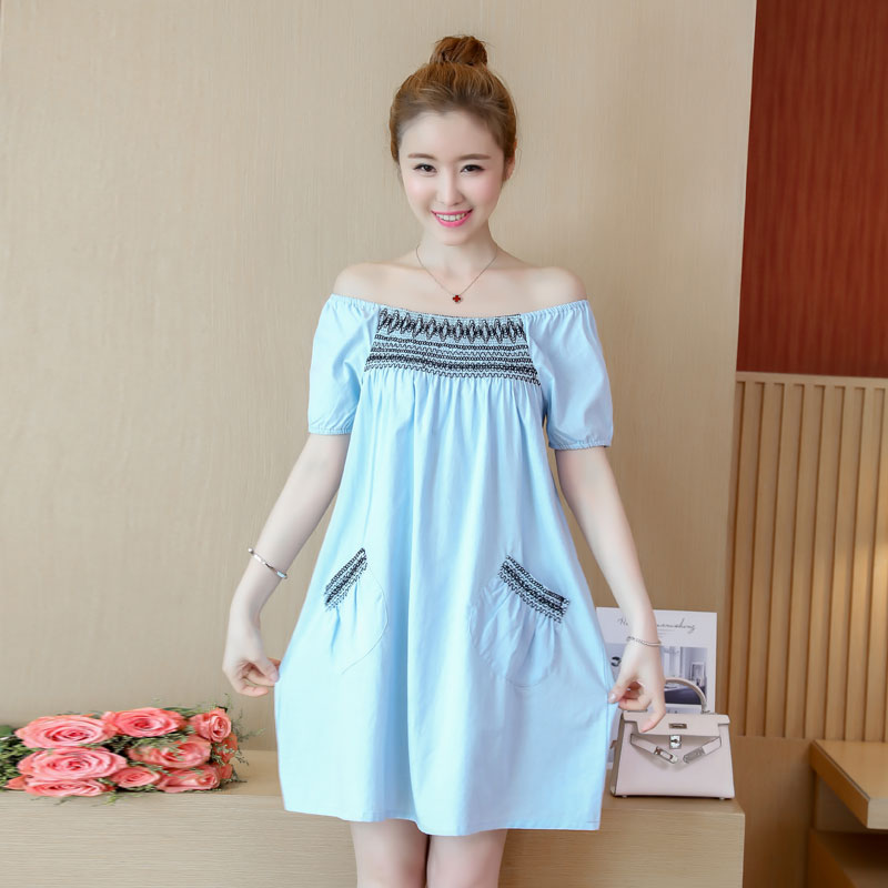 Maternity Clothes Novelty Pregnancy Dress Embroidery Cotton Loose Pregnancy Clothing Of Pregnant Women Summer