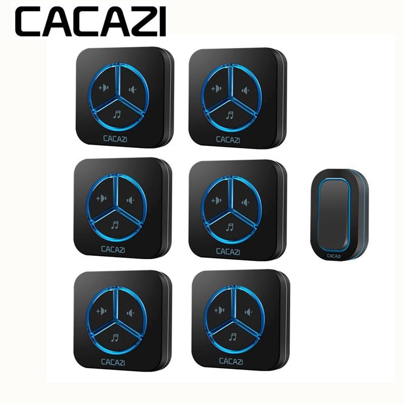 CACAZI Wireless Waterproof Doorbell Call Smart ring bell Household 280M Remoto 12V23A US EU UK Plug Battery Transmitter button цены